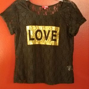 Bongo black crop top with lace overlay. Cute!